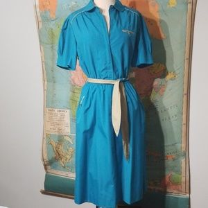 Vintage Blue and Kahki Uniform Style Dress